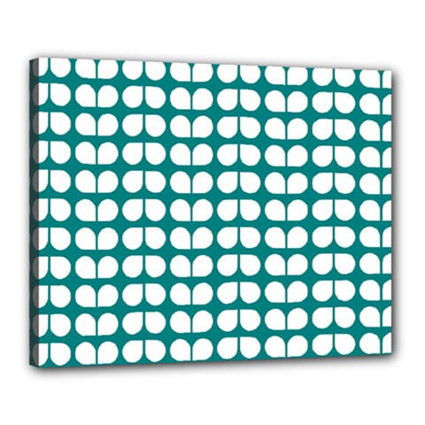 Teal And White Leaf Pattern Canvas 20  X 16  by creativemom