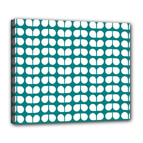 Teal And White Leaf Pattern Deluxe Canvas 24  X 20   by creativemom