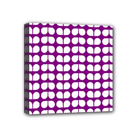 Purple And White Leaf Pattern Mini Canvas 4  X 4  by creativemom