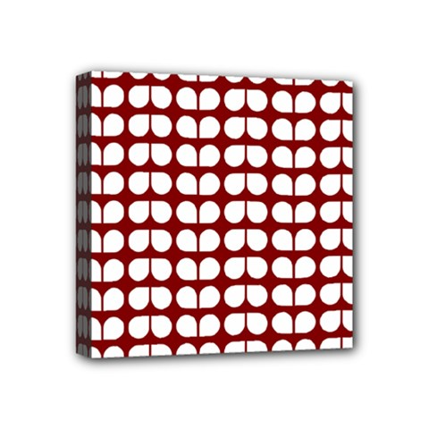 Red And White Leaf Pattern Mini Canvas 4  X 4  by creativemom