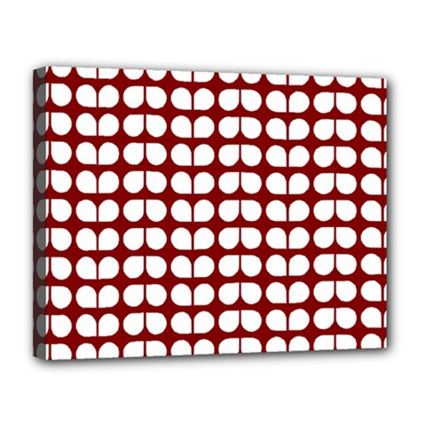 Red And White Leaf Pattern Canvas 14  X 11  by creativemom