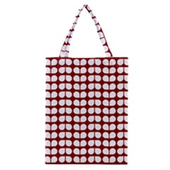 Red And White Leaf Pattern Classic Tote Bags