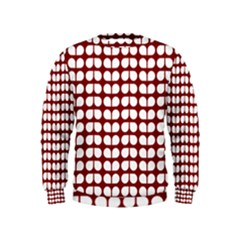 Red And White Leaf Pattern Boys  Sweatshirts