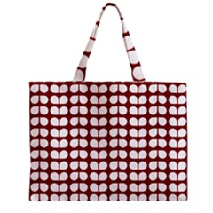 Red And White Leaf Pattern Zipper Tiny Tote Bags by creativemom