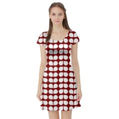 Red And White Leaf Pattern Short Sleeve Skater Dresses by creativemom