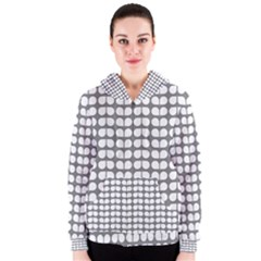 Gray And White Leaf Pattern Women s Zipper Hoodies by creativemom
