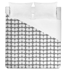 Gray And White Leaf Pattern Duvet Cover Single Side (full/queen Size) by creativemom