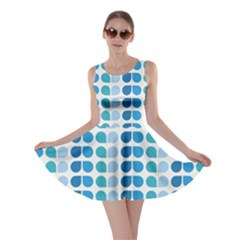 Blue Green Leaf Pattern Skater Dresses by creativemom