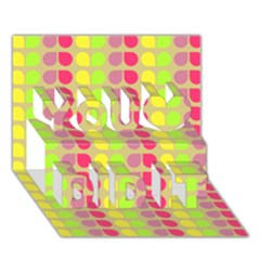 Colorful Leaf Pattern You Did It 3d Greeting Card (7x5) by creativemom