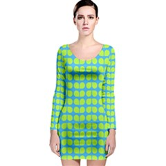 Blue Lime Leaf Pattern Long Sleeve Bodycon Dresses