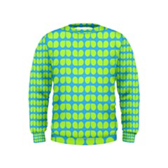 Blue Lime Leaf Pattern Boys  Sweatshirts by creativemom