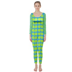 Blue Lime Leaf Pattern Long Sleeve Catsuit