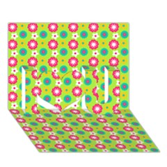 Cute Floral Pattern I Love You 3d Greeting Card (7x5)  by creativemom