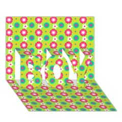 Cute Floral Pattern Boy 3d Greeting Card (7x5) by creativemom