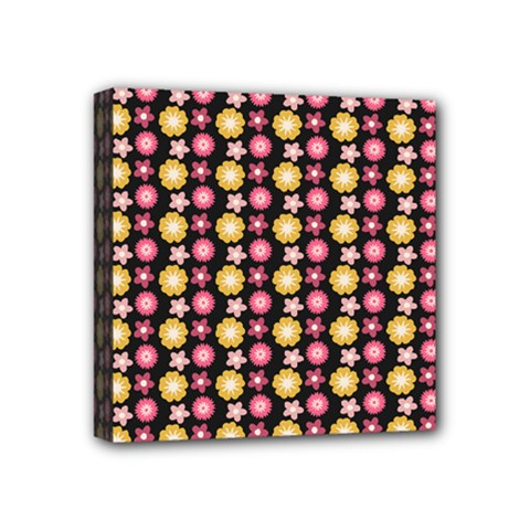 Cute Floral Pattern Mini Canvas 4  X 4  by creativemom