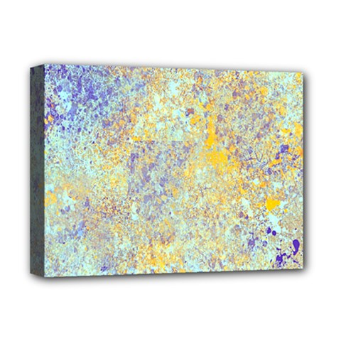 Abstract Earth Tones With Blue  Deluxe Canvas 16  X 12   by digitaldivadesigns
