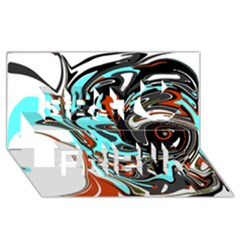 Abstract In Aqua, Orange, And Black Best Friends 3d Greeting Card (8x4)