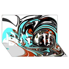 Abstract In Aqua, Orange, And Black Best Sis 3d Greeting Card (8x4)  by digitaldivadesigns