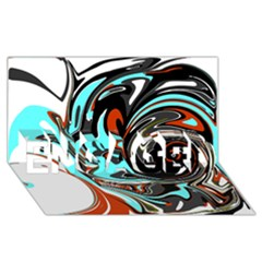 Abstract In Aqua, Orange, And Black Engaged 3d Greeting Card (8x4)