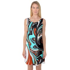 Abstract In Aqua, Orange, And Black Sleeveless Satin Nightdresses