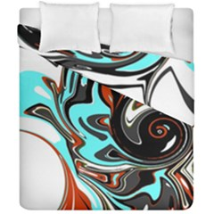 Abstract In Aqua, Orange, And Black Duvet Cover (double Size)
