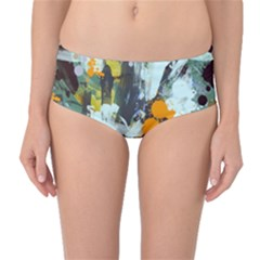 Abstract Country Garden Mid Waist Bikini Bottoms by digitaldivadesigns