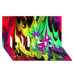 Fractal Marbled 14 Hugs 3d Greeting Card (8x4)