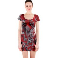 Fractal Marbled 07 Short Sleeve Bodycon Dresses