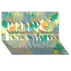 Abstract Flower Design In Turquoise And Yellows Happy Birthday 3d Greeting Card (8x4)  by digitaldivadesigns