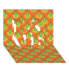 70s Green Orange Pattern Love 3d Greeting Card (7x5)  by ImpressiveMoments