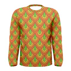 70s Green Orange Pattern Men s Long Sleeve T Shirts by ImpressiveMoments