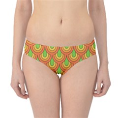 70s Green Orange Pattern Hipster Bikini Bottoms by ImpressiveMoments