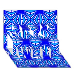 Retro Blue Pattern Get Well 3d Greeting Card (7x5)  by ImpressiveMoments