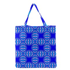 Retro Blue Pattern Grocery Tote Bags