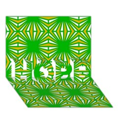 Retro Green Pattern Hope 3d Greeting Card (7x5)  by ImpressiveMoments