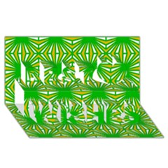 Retro Green Pattern Best Wish 3d Greeting Card (8x4)  by ImpressiveMoments