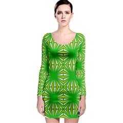 Retro Green Pattern Long Sleeve Bodycon Dresses