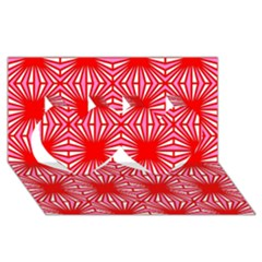 Retro Red Pattern Twin Hearts 3d Greeting Card (8x4)  by ImpressiveMoments