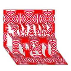 Retro Red Pattern Thank You 3d Greeting Card (7x5)  by ImpressiveMoments