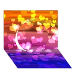 Lovely Hearts, Bokeh Circle 3d Greeting Card (7x5)