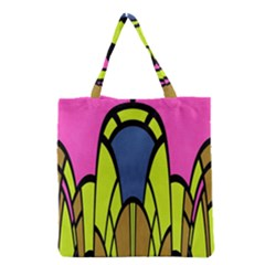 Distorted Symmetrical Shapes Grocery Tote Bag by LalyLauraFLM