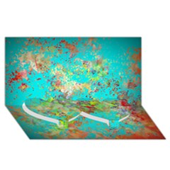 Abstract Garden In Aqua Twin Heart Bottom 3d Greeting Card (8x4)  by digitaldivadesigns