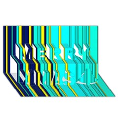 Hot Stripes Aqua Merry Xmas 3d Greeting Card (8x4)