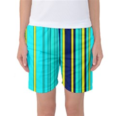 Hot Stripes Aqua Women s Basketball Shorts by ImpressiveMoments