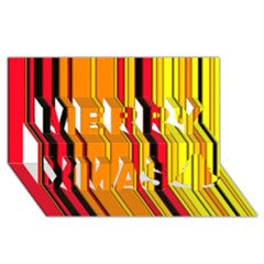 Hot Stripes Fire Merry Xmas 3d Greeting Card (8x4)