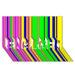 Hot Stripes Rainbow Engaged 3d Greeting Card (8x4)