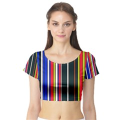 Hot Stripes Red Blue Short Sleeve Crop Top by ImpressiveMoments