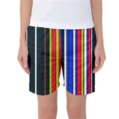 Hot Stripes Red Blue Women s Basketball Shorts by ImpressiveMoments