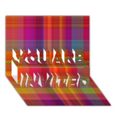Plaid, Hot You Are Invited 3d Greeting Card (7x5)  by ImpressiveMoments