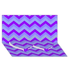 Chevron Blue Twin Heart Bottom 3d Greeting Card (8x4)